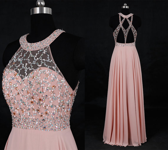 532e623cb2 Delicate Dark Pink Halter Sparkle Top Long Chiffon Formal Dresses ...