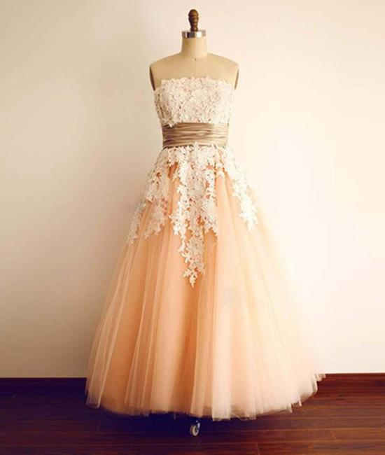 Beautiful Vintage Tea Length Lace and Champagne Tulle Wedding Gowns, Charming Prom Dresses, Lovely Formal Dresses