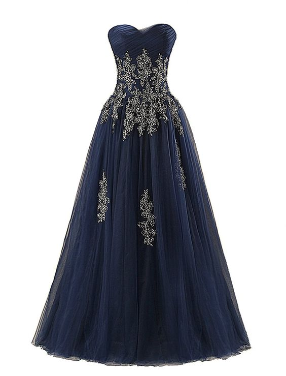 Navy Blue Tulle Sweetheart Floor Length Formal Gown Featuring Lace Appliqués and Lace-Up Back, Prom Dress