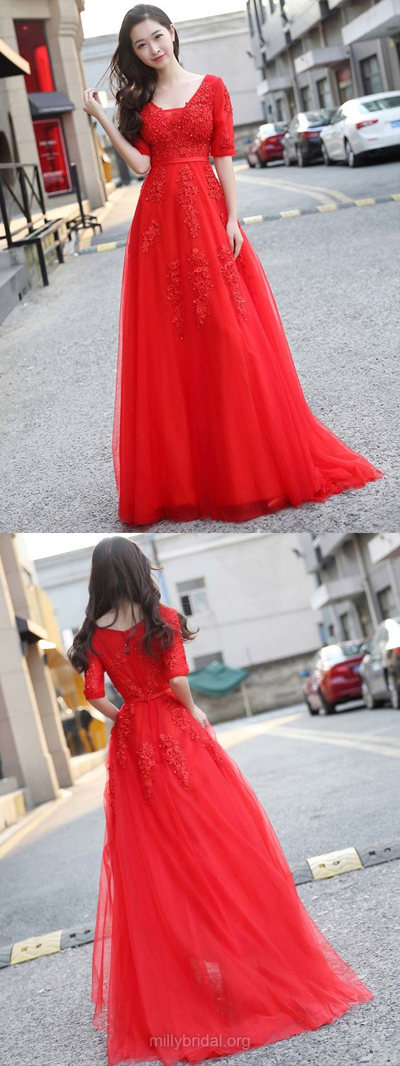 Red Princess Prom Dresses, Prom Gowns V-neck,Long Party Dresses Tulle Appliques 2018
