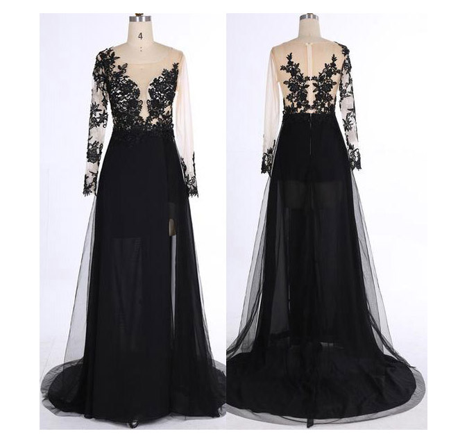 Black Long Sleeves Prom Dress,See-through V-Neck Prom Dresses,Tulle Evening Dress with Appliques,Formal Gowns 2018