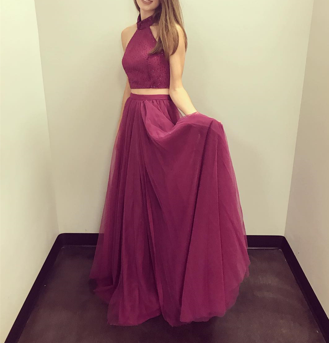 Gorgeous Two Piece Halter Long Red Prom Dress Evening Dress, Pretty Tulle and Beaded Prom Dresses, Party Dresses
