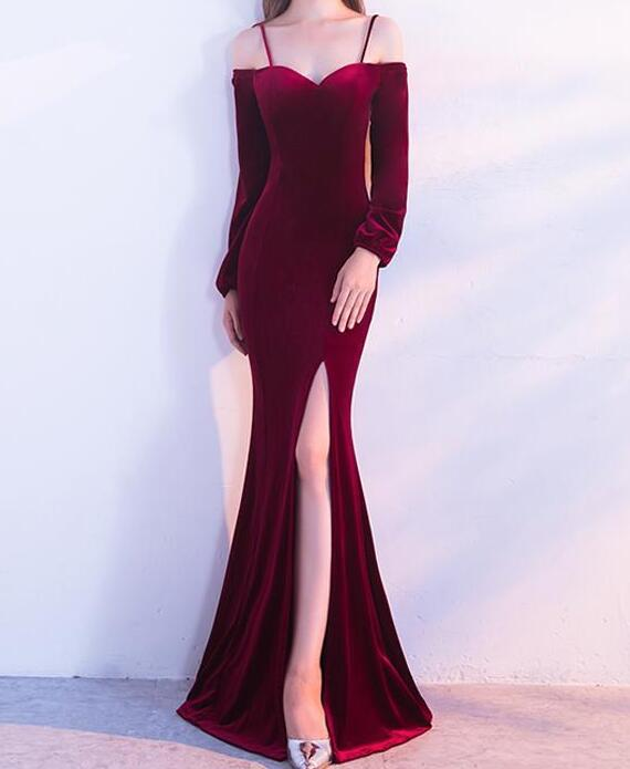 f9c1fcd8d5376a Burgundy Velvet Mermaid Cold Shoulder Long Sleeves Split Prom Dresses