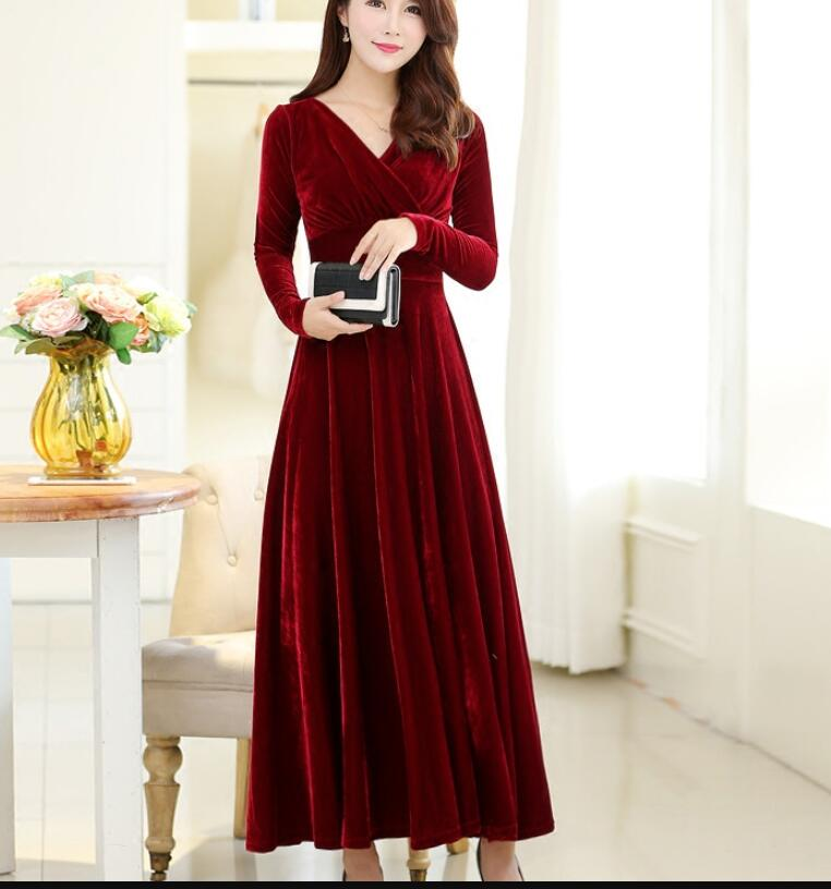 6f7b5c202d4c Wine Red A-line Long Sleeves Winter Dresses