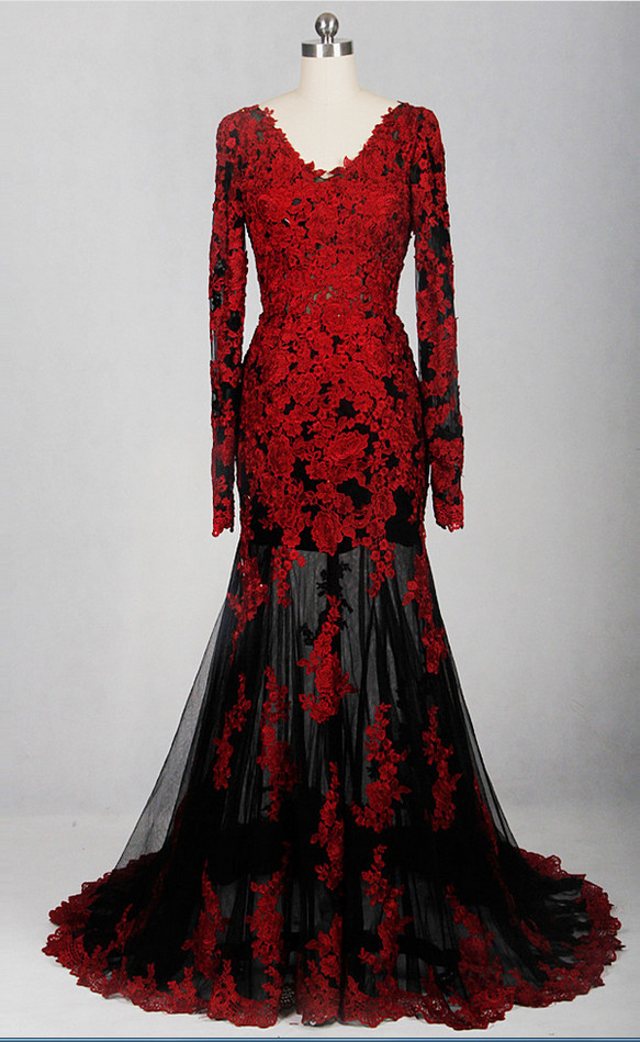 Red and Black Lace Long Sleeves Long Prom Dresses, Red Formal Gowns 2018, Party Dresses