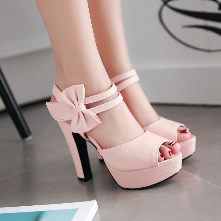 d8716c386a7f Pink Cute High Heels With Bow