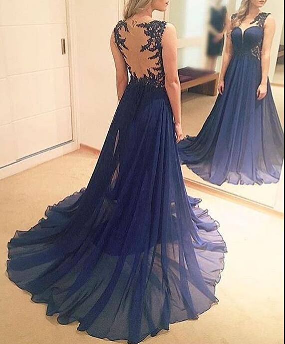 Blue Chiffon Long Junior Prom Dress With Applique, Charming Formal ...