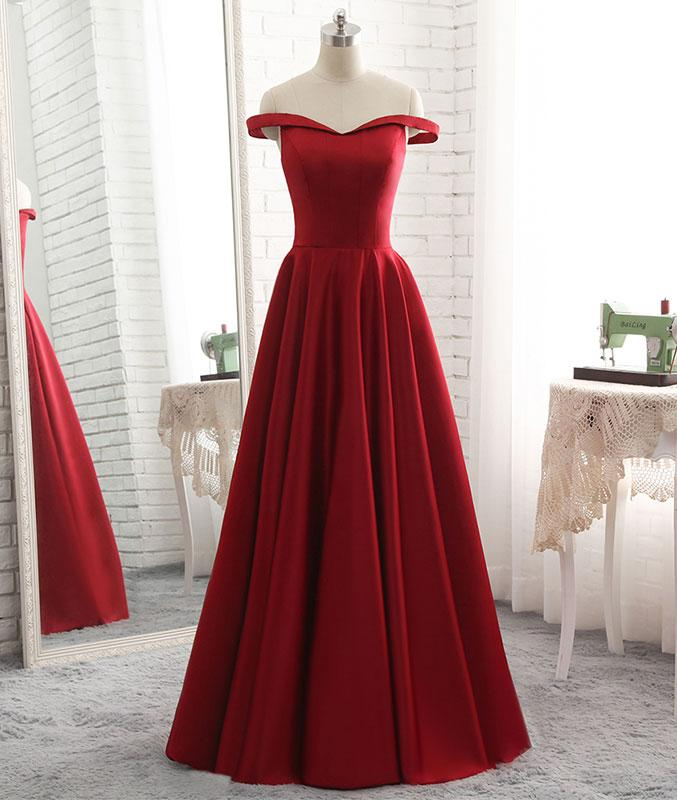Popular Red Satin A-line Prom Gown, Red Prom Dress 2018, Formal Dresses for Women