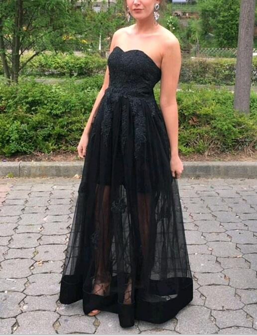 Black Sweetheart Formal Dresses Black Junior Prom Dresses Black