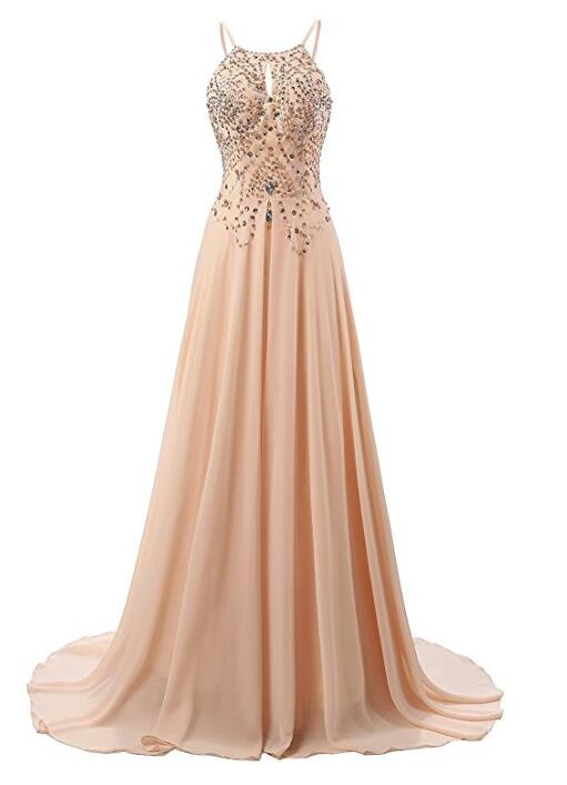 Light Pearl Pink Beaded Chiffon Junior Prom Dresses, Straps Backless ...