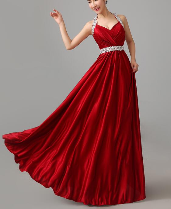 Red Satin Halter Beaded Long Party Dress, Formal Dresses, Red Party ...