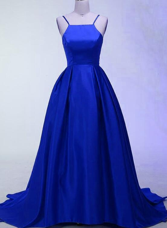 Royal Blue Halter Long Satin Party Dresses, Blue Party Gowns, Formal Dresses