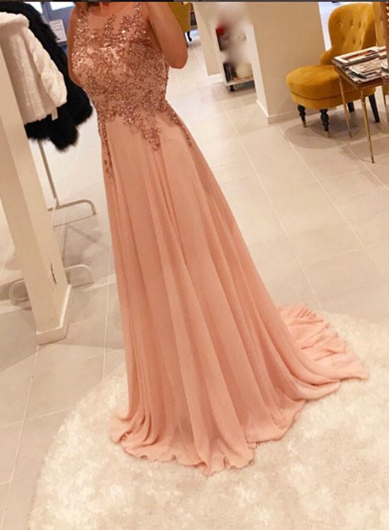 Light Pink Chiffon with Sequins Long Party Dress, Elegant Formal Dress, Junior Prom Dresses