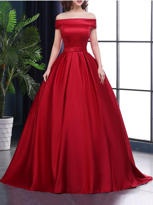 Red Satin Long Ball Gown Party Dress, Red Formal Gowns, Off Shoulder ...