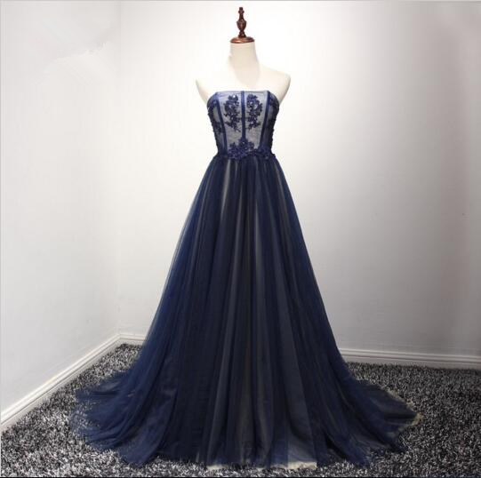 Navy Blue Tulle Party Gowns, Blue Prom Dress, Formal Dresses 2k18