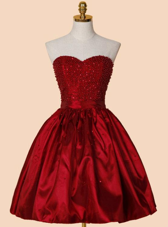 Red Satin Short Beaded Lace Up Homecoming Dresses Teen Party Dress