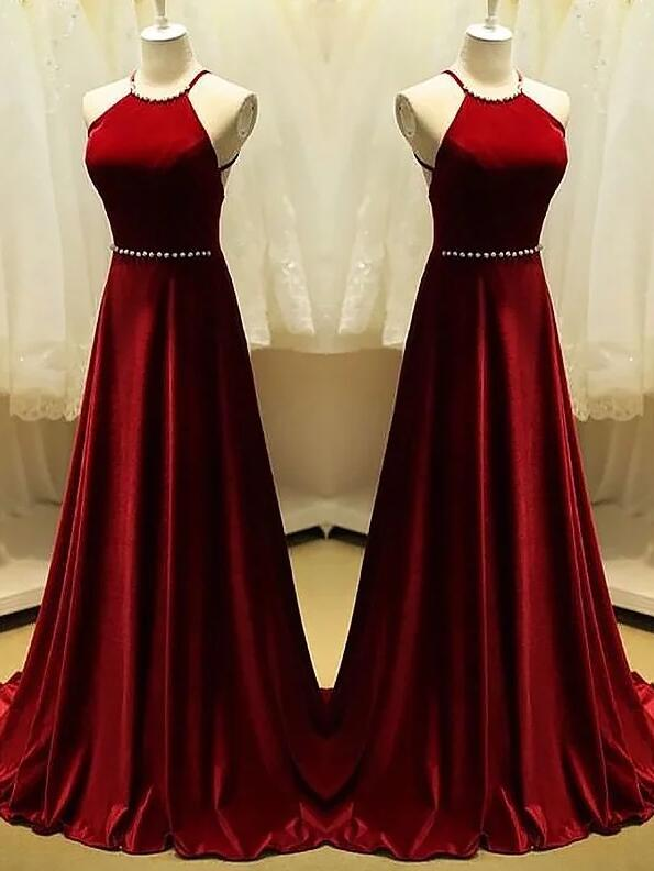 Beautiful Dark Red Velvet Halter Long A Line Party Dress