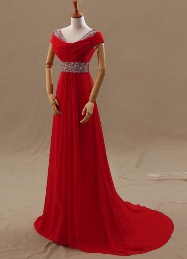 Beautiful Red Cap Sleeves Beaded Chiffon A-line Long Party Gowns ...