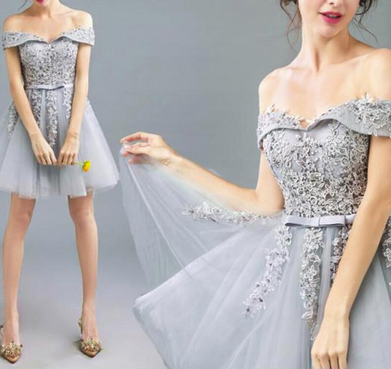 Grey Tulle Off Shoulder Short Homecoming Dresses Teen Party Dress