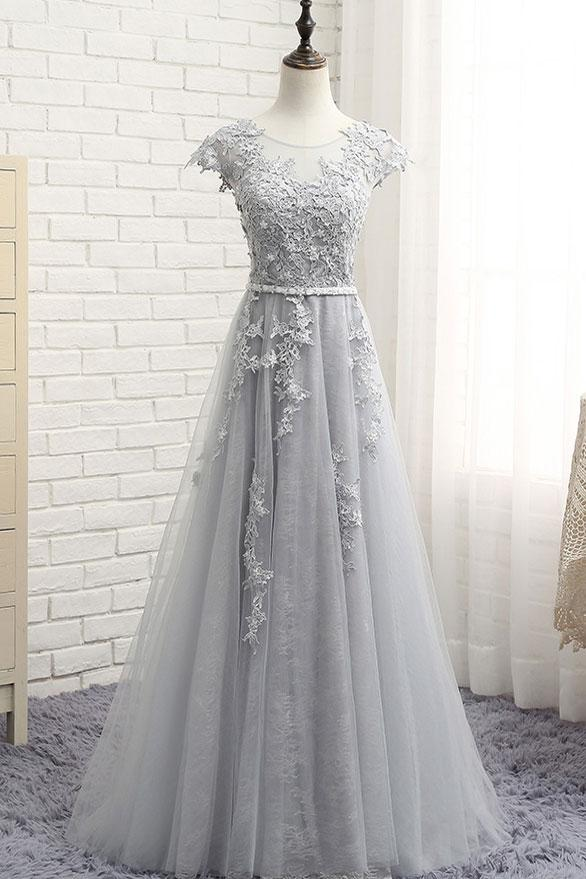 Grey Tulle Handmade Long Junior Party Dress, Prom Dress, Tulle ...