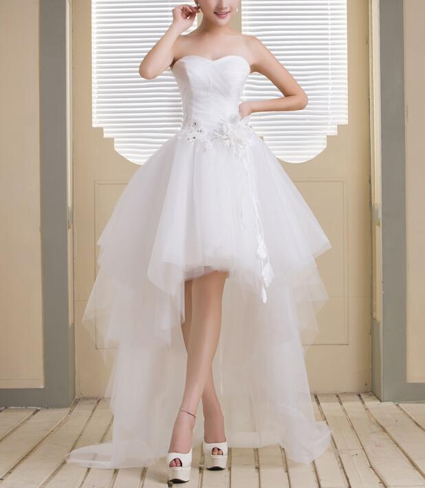 Cute White Tulle Sweetheart High Low Party Dress, High Low Formal Dress, Homecoming Dresses