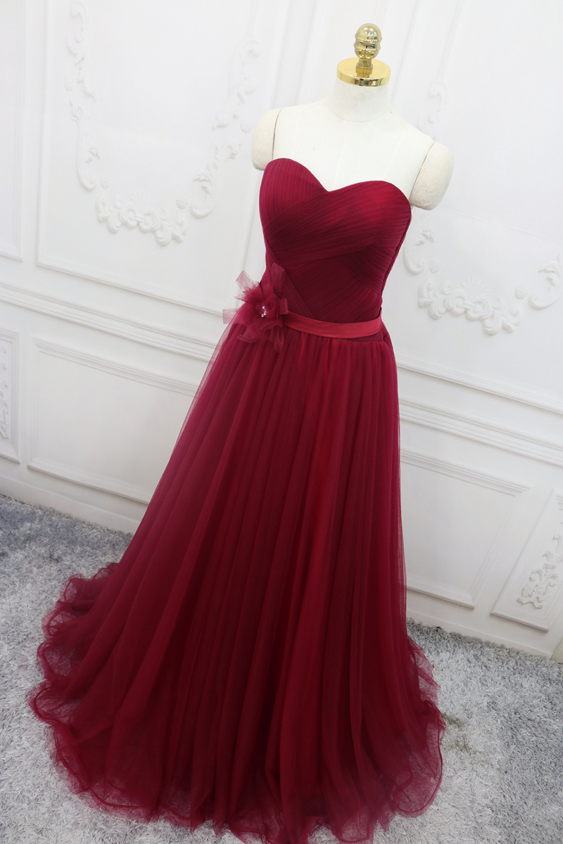 c551a5566ff Wine Red Sweetheart Tulle Floor Length Handmade Prom Dress