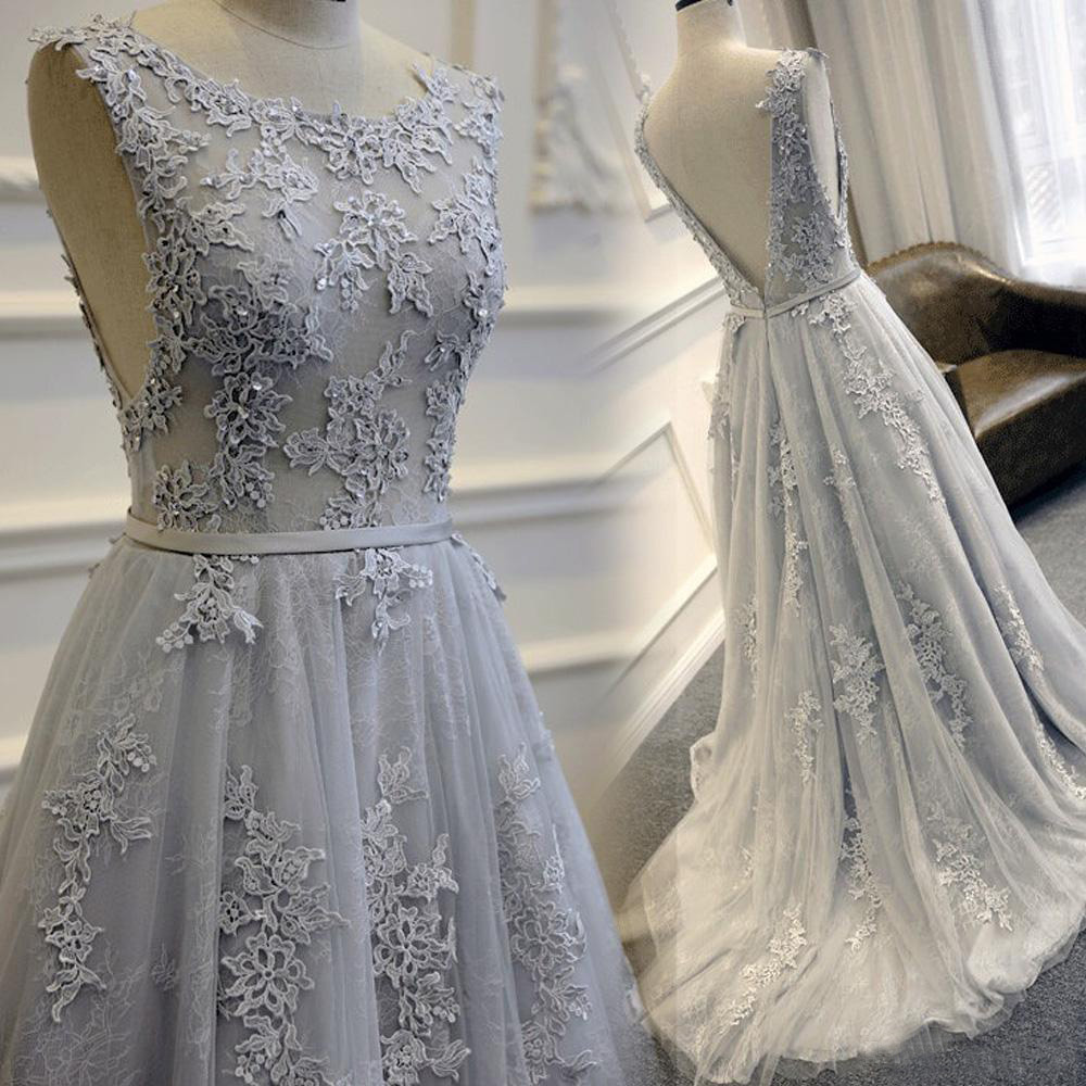 Gorgeous Grey Tulle And Lace Party Gowns 2018 4537d17f5