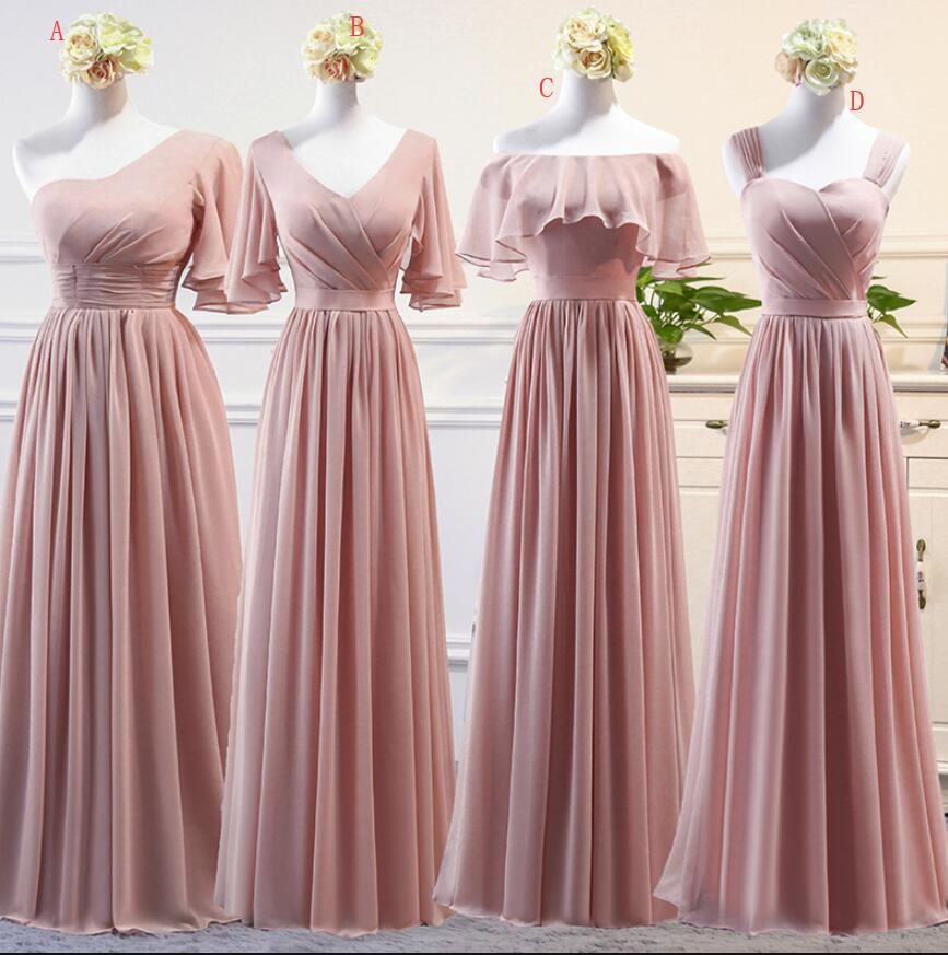 6585dc8c3a8 Beautiful Dark Pink Mismatch Chiffon Long Bridesmaid Dresses