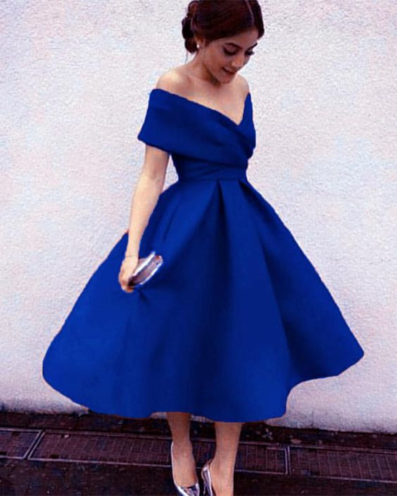 Vintage Dresses Blue Wedding: Royal Blue Off Shoulder Tea Length Bridesmaid Dresses