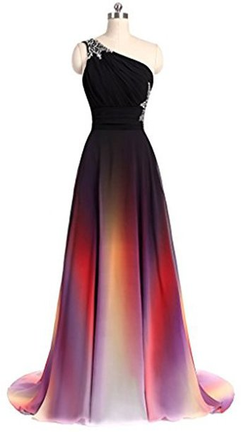 f0db90f23bb Gradient One Shoulder Handmade Beaded Formal Gowns