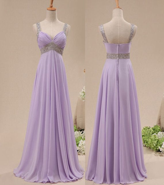 Beautiful Chiffon Lavender Floor Length Sequins Bridesmaid Dresses Pretty Straps Formal Gowns