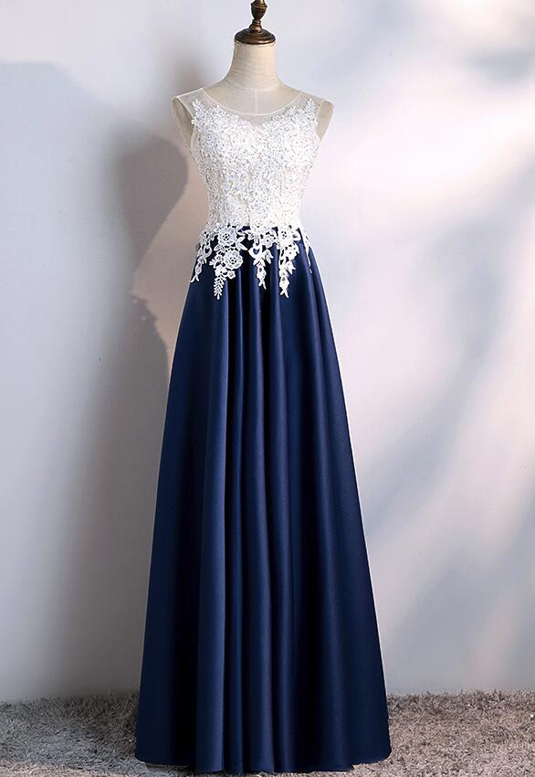 445226b85f96 Navy Blue Satin with White Lace Top Floor Length Party Dresses, Prom Dresses,  Beautiful