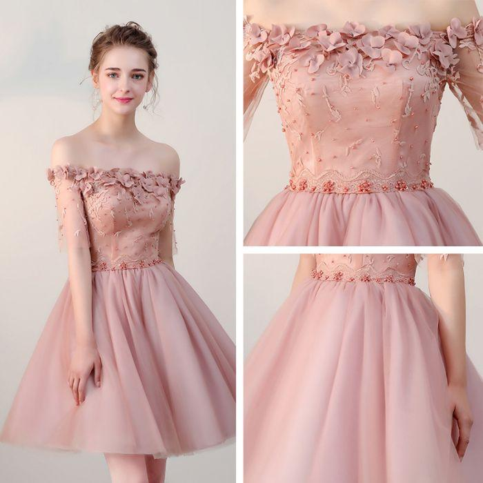 a147f73830f Pink Off Shoulder Flowers Tulle Cute Short Prom Dress