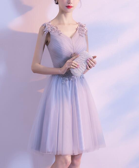 Grey Tulle V-neckline Simple Homecoming Dress 2018, Grey Party Dress, Grey Homecoming Dress, Formal Dress