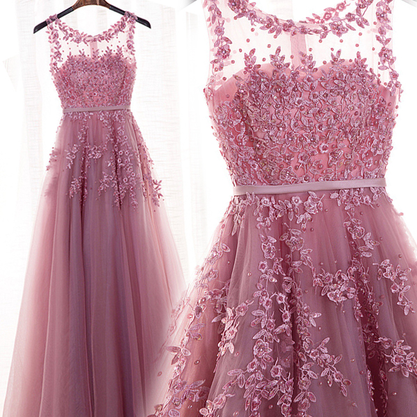 3840aaeb5f0 Dark Pink Tulle Round Neckline Long Beaded Elegant Party Dress ...