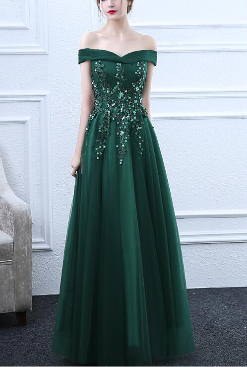 b85451876917 Green Off Shoulder Long Tulle Prom Dress 2019