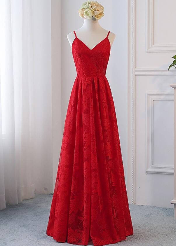 Beautiful Red Straps Lace V-neckline Prom Dress, Red Formal Gowns ...