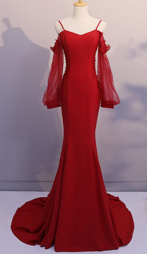 Red Spandex Mermaid Long Prom Dress 2019, Red Formal Gowns, Red ...