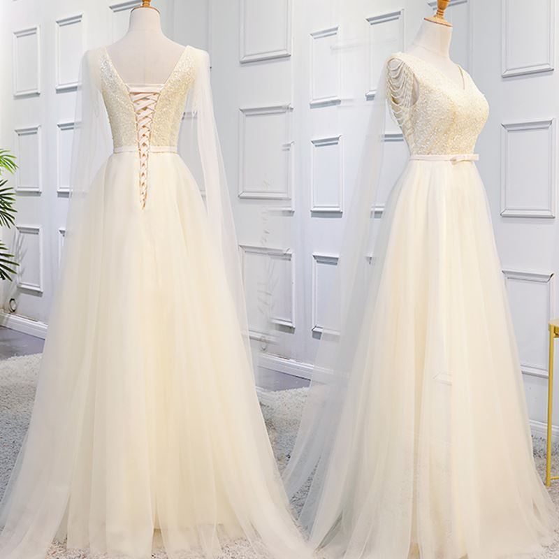 Champagne Long Tulle Formal Gowns, Elegant Party Dress 2019, Prom Dress 2019