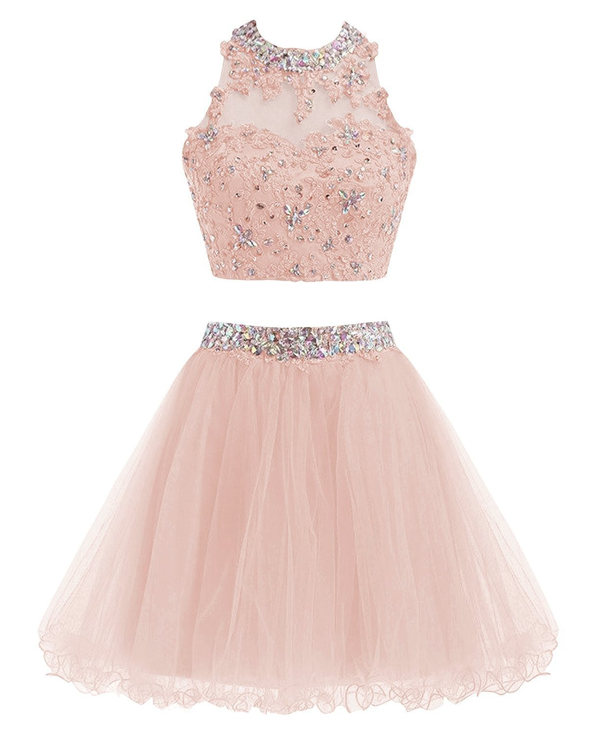 38d6c0773c7 Pink Two Piece Tulle Homecoming Dresses