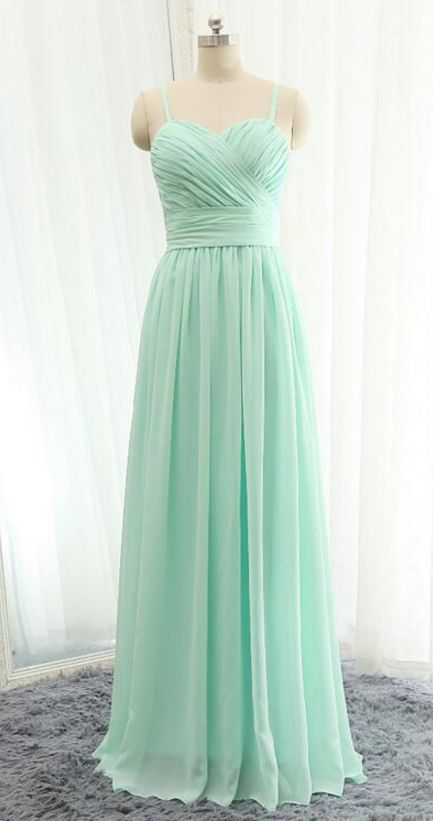 Mint Chiffon Straps Bridesmaid Dresses, Bridesmaid Dress with Bow, Lovely Formal Dresses