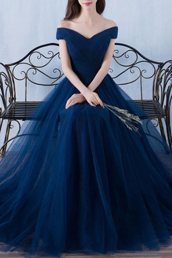 a5e0ffeda2f4 Navy Blue Long Prom Dress 2019, Off Shoulder Party Dresses, Pretty Formal  Dresses