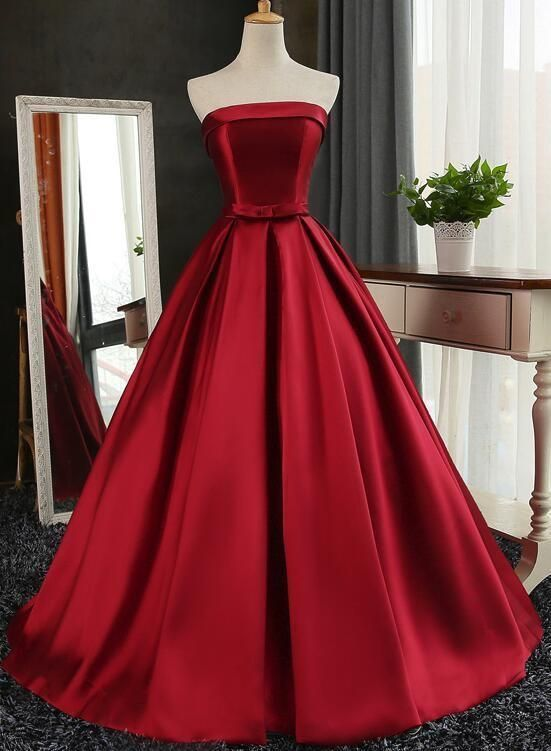 Dark Red Prom Dresses, Gorgeous Formal Gowns, Satin Long Party Dress 2019