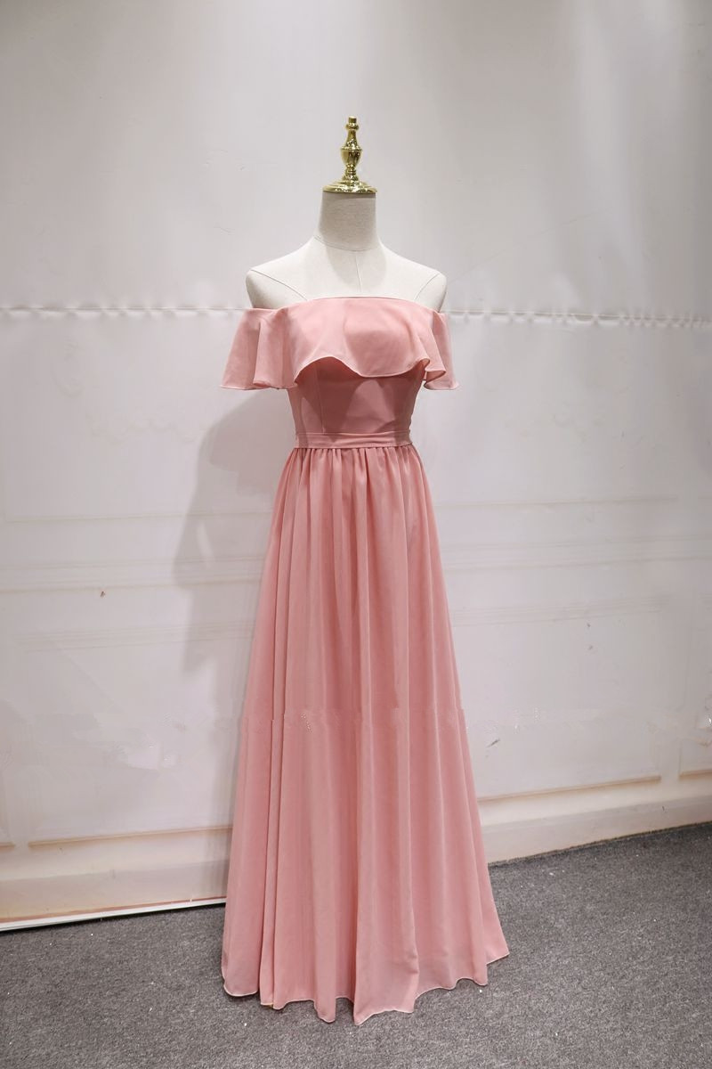 f043d11d8272 Pink Off Shoulder Chiffon Prom Dress, Pink Bridesmaid Dress, Lovely Party  Dress