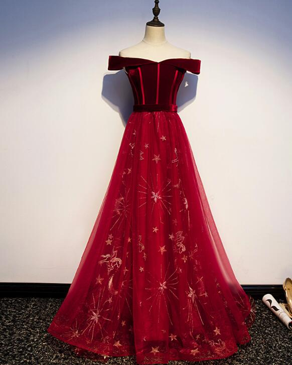 Dark Red Velvet and Tulle Long Prom Dress 2019, Lace-up Formal Gown 2019