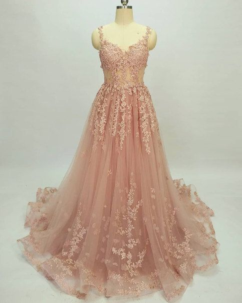 Beautiful Long Pink Lace Applique Party Gowns, Tulle Formal Dresses 2019