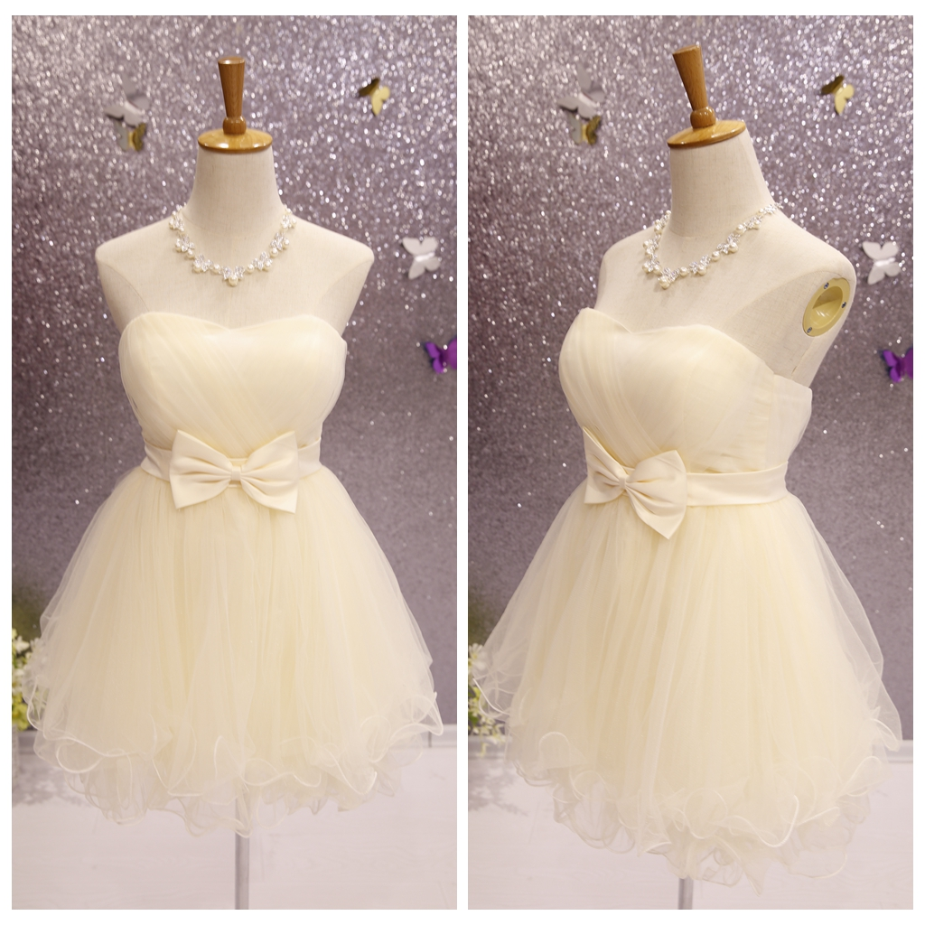 Cute Champagne Short Tulle Sweetheart Party Dress with Bow, Lovely Formal Dress 2019