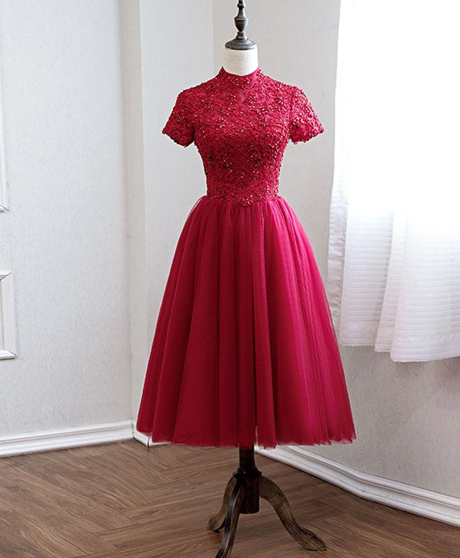 Dark Red Halter Tulle Cap Sleeves Formal Dresses, Beautiful Party Dress