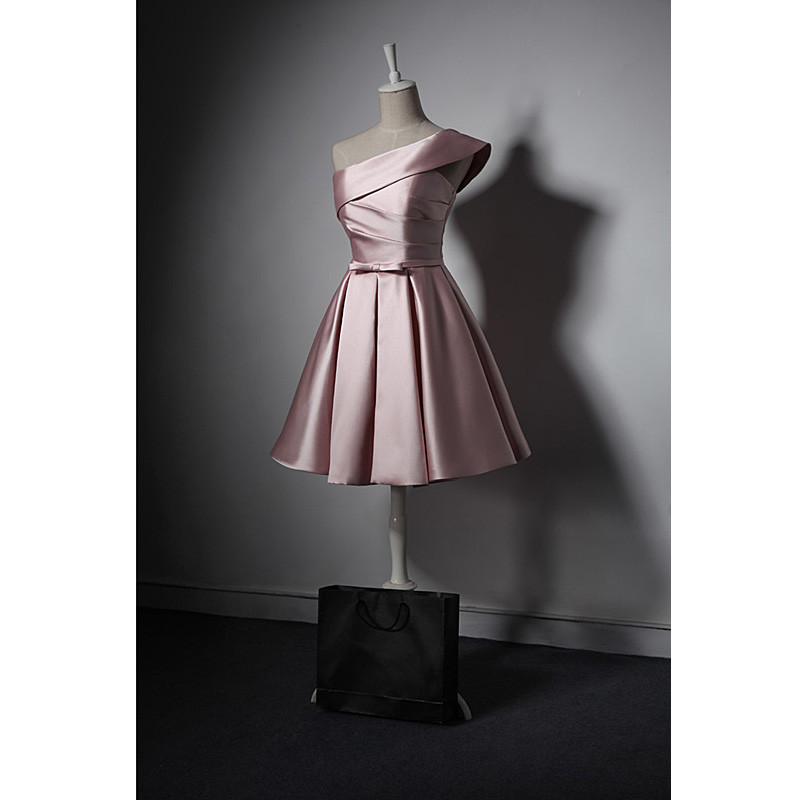 Lovely Simple One Shoulder Pink Bridesmaid Dress, Pink Satin Homecoming Dress