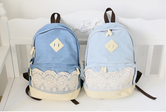 Pretty Denim Backpack Bag with Lace, Girls' Bag